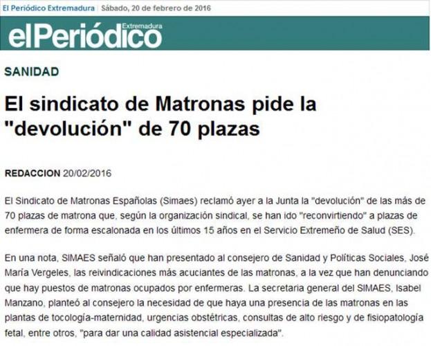 02-20-2016 El sindicato de Matronas pide la 'devolución' de 70 plazas - Extremadura - El Periodico